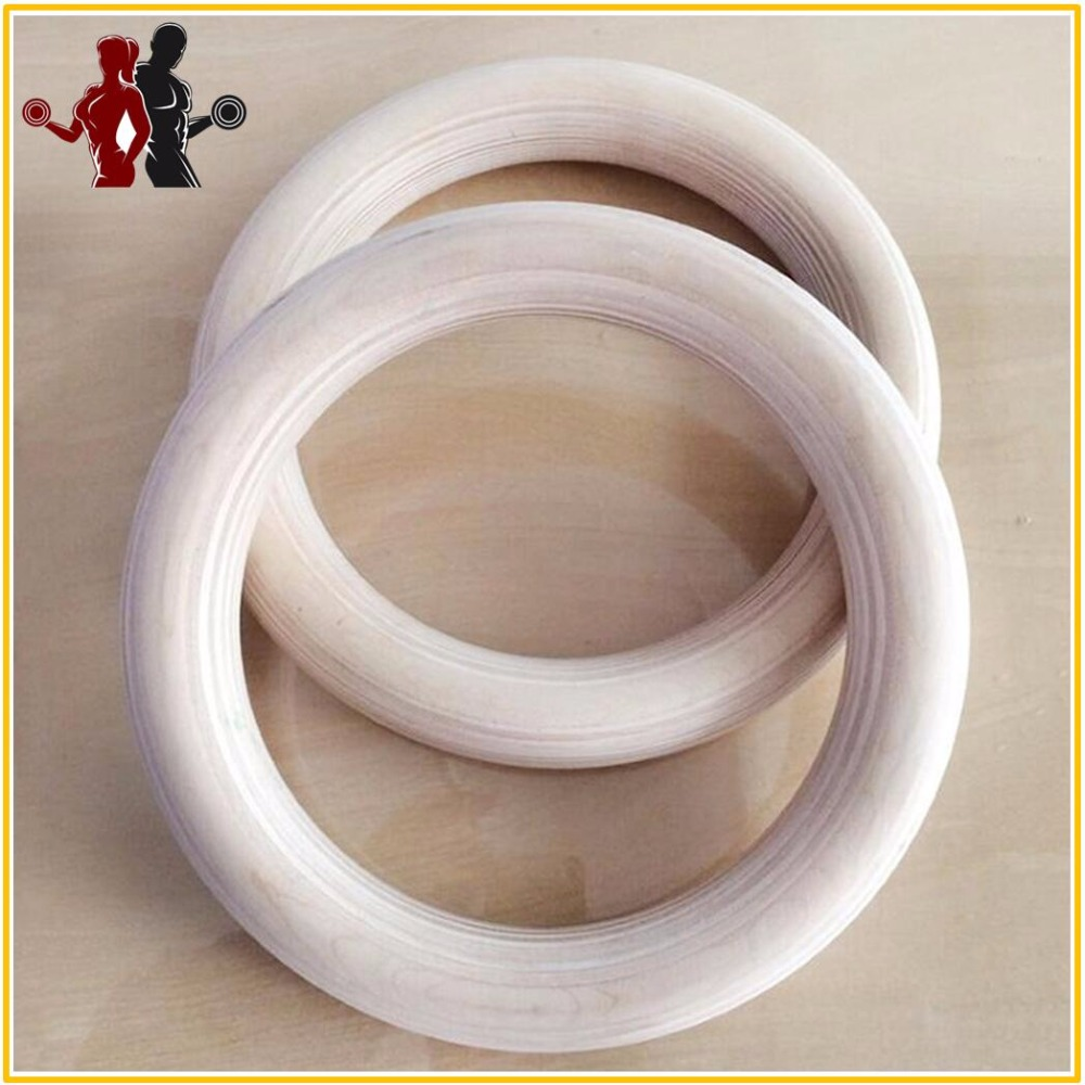 Quality 2pcs/pairs Wood wooden ring 1.1″Portable Crossfit Gymnastics Rings Gym Shoulder Strength Home Fitness Training Equipment