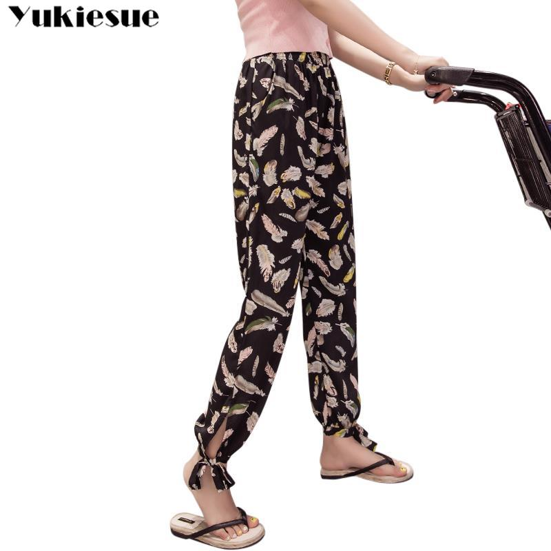 bohemian summer printed lace up women's   pants     capris   with high waist harem   pants   for women trousers woman   pants   female Plus size