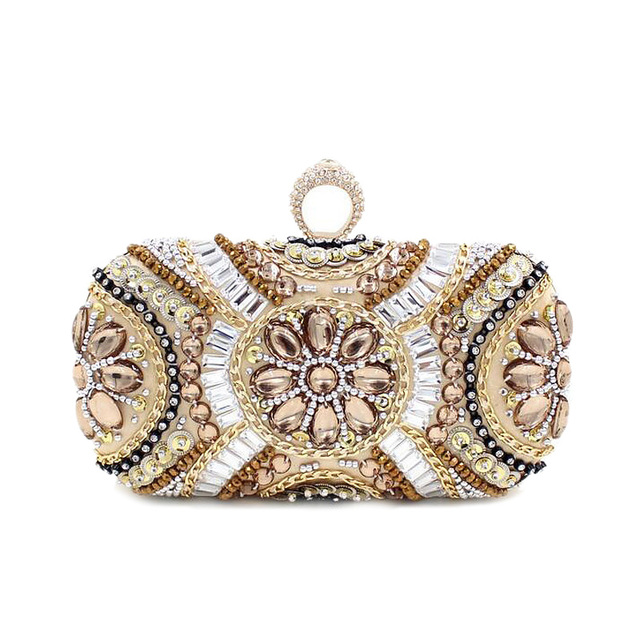 High-quality European and American style diamond exquisite hand-beaded clutch evening bags finger grip design women handbags
