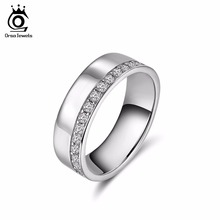 ORSA JEWELS 2019 New Rose Gold Color & Silver Color Rings for Women Engagement Rings with One Row 32 Pieces Micro Paved CZ OR147