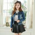 2016 Autumn New Womens basic coats And Jackets Long Sleeve Frayed jeans bomber jacket Junior Slim denim bolero blouson femme
