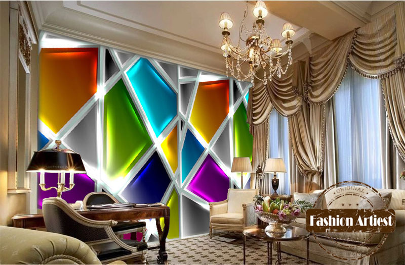 the living room cafe. Custom modern 3d wallpaper mural European glinting color glass wall sofa  bedroom living room cafe bar restaurant background in Wallpapers from Home
