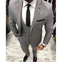 Grey 3 Piece Men Suits for Wedding Suits for Men Blazer Costume Mariage Homme Black Man Suit Slim Fit Groom Tuxedo Prom Party