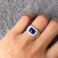 Classic Square shape cutting Lapis Lazuli ring for man classic sterling silver ring 925 stamped luxury ring gift for wife