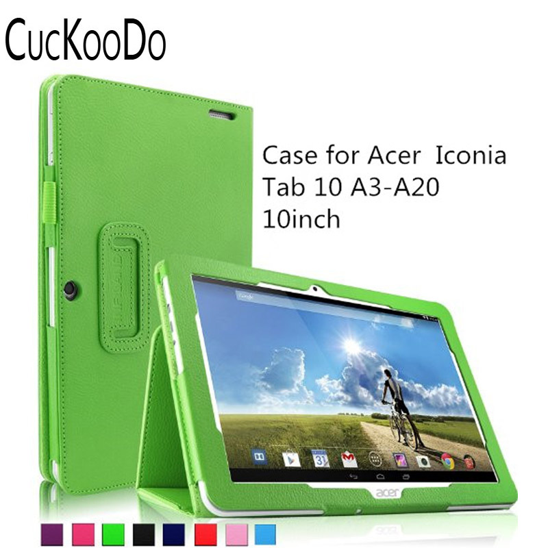 CucKooDo 200Pcslot Folio PU Leather Slim Fit Stand Case for Acer Iconia Tab 10 A3-A20 10.1-Inch HD Tablet Only