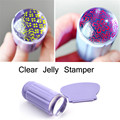 2pcs/set Clear Jelly Nail Art Stamper Clear Silicone Marshmallow Nail Stamper & Scraper for Beauty Nail Art Stamping