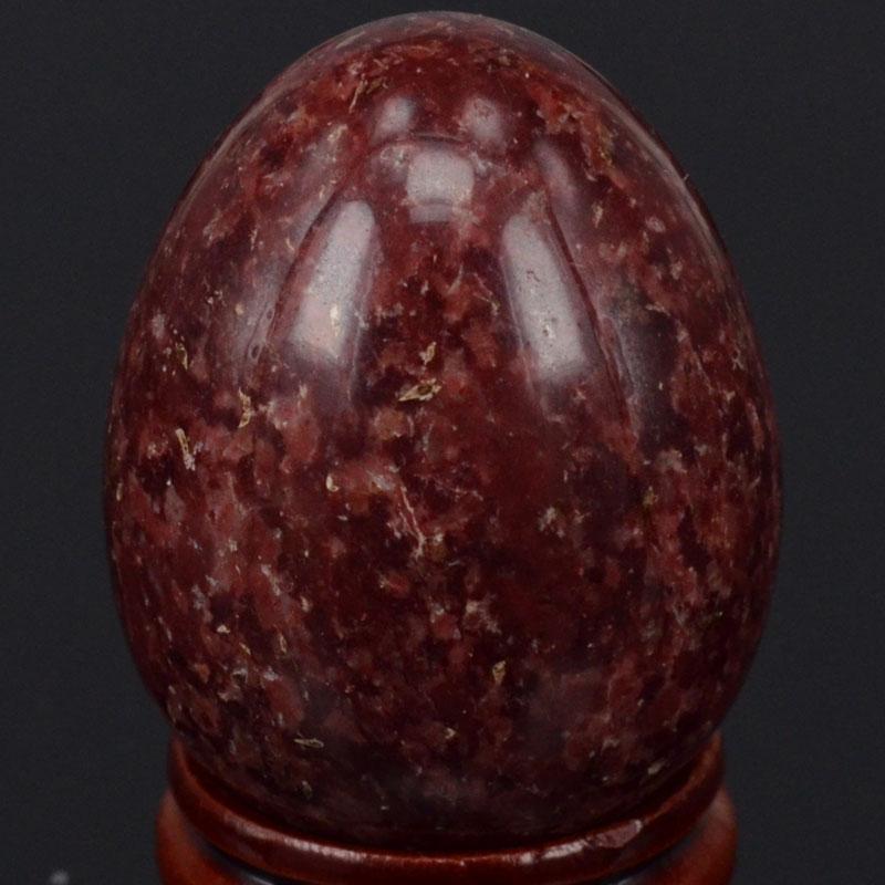 ბუნებრივი Gemstone მუქი წითელი ლაქა Jasper სფერო კვერცხის სამკურნალო Reiki Crafts Stone Massage Finger სავარჯიშო 34x44MM
