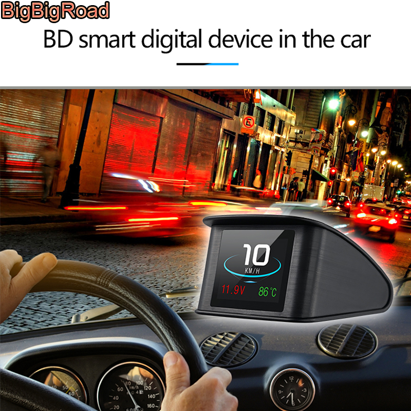 BigBigRoad Car Hud OBD 2 EUOBD Windscreen Projector Speed Head Up Display For Kia Niro Mohave Borrego K9 K900 KX3 K7 KX7 Cadenza bigbigroad car hud obd 2 euobd windscreen projector speed head up display for kia niro mohave borrego k9 k900 kx3 k7 kx7 cadenza