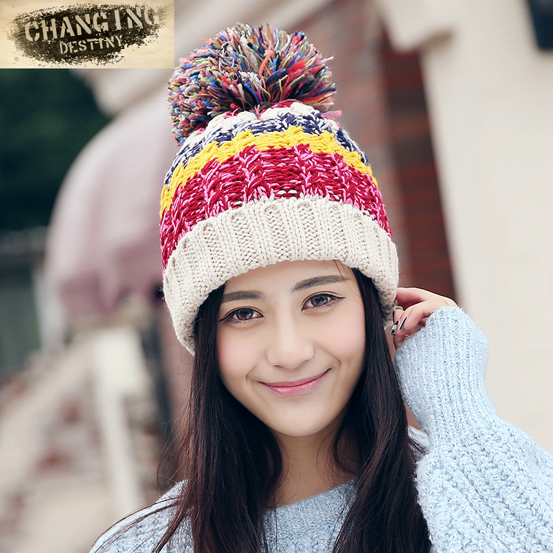 74451da2c6925 Winter Women s Knitted Hat Fight Color Thicker Plus Velvet Ear Protection  Hat Ladies Comfortable Warm Hair Ball Knitted Caps-in Skullies   Beanies  from ...