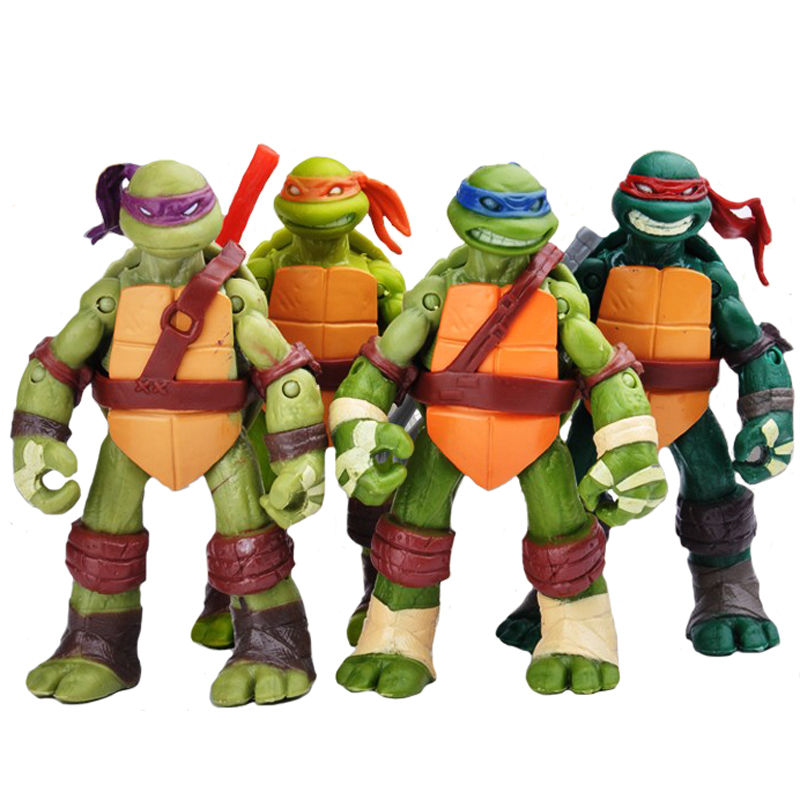 4pcs/set Turtles Action Figure PVC 12cm Collection Model Toys Animation Toys Joint Can Move Japanese Anime Figures Kids Gifts