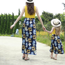 ZOGAA 2019 Causal Stripe and Print Floral Yellow Sunflower Mommy and Me Clothes Sleeveless Family Matching Maxi Dress random floral print sleeveless elastic waist slit hem maxi dress