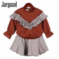Jargazol Fille vêtements ensemble enfants vêtements à manches longues hauts + jupe mignon automne vêtements pour enfants Falbala Vetement Enfant Fille