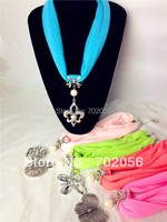 Scarf Jewelry Pendant Necklace Fashion Womens Soft Scarves Jewellery Mix Design Mix Colors DHL Free