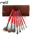 MSQ 8pcs Animal Hair Makeup Brush Set With Alligator Pattern Leather Bag