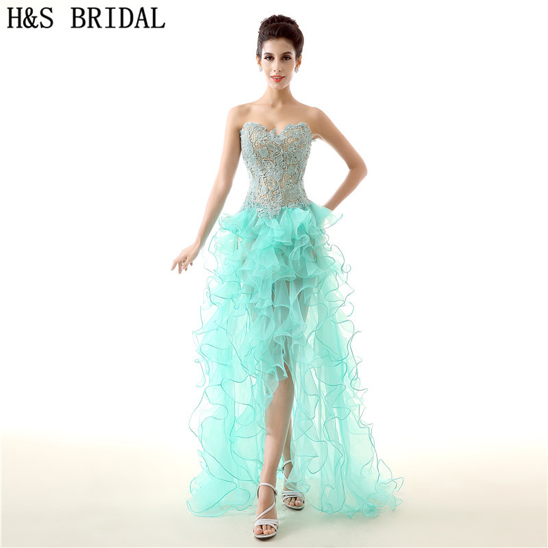 H&S BRIDAL Organza High Low   cocktail     dresses   Lace Girls Party   Dress   2019 Cheap New vestido robe   cocktail     dress   long party