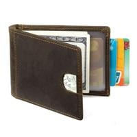 Genuine Leather Men Money Clips Vintage Pocket Clamp For Money Holder Cowhide Money Clip Wallet With