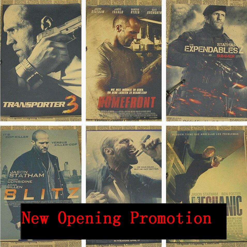 Vintage Poster Jason Statham Film Kraft Paper Home Wanddekoration Der Transporter 2...