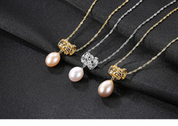 S925 sterling silver jewelry natural pearl necklace micro inlaid zircon fashion accessories LBM35