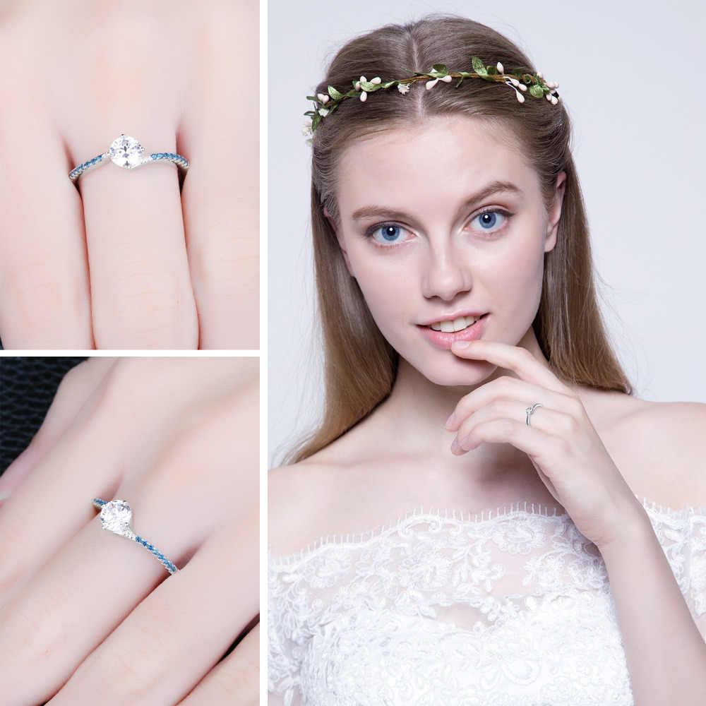JewelryPalace รอบสร้าง Blue NANO Sapphire ครบรอบสัญญาหมั้นแหวนเงินแท้ 925 แหวนเครื่องประดับ