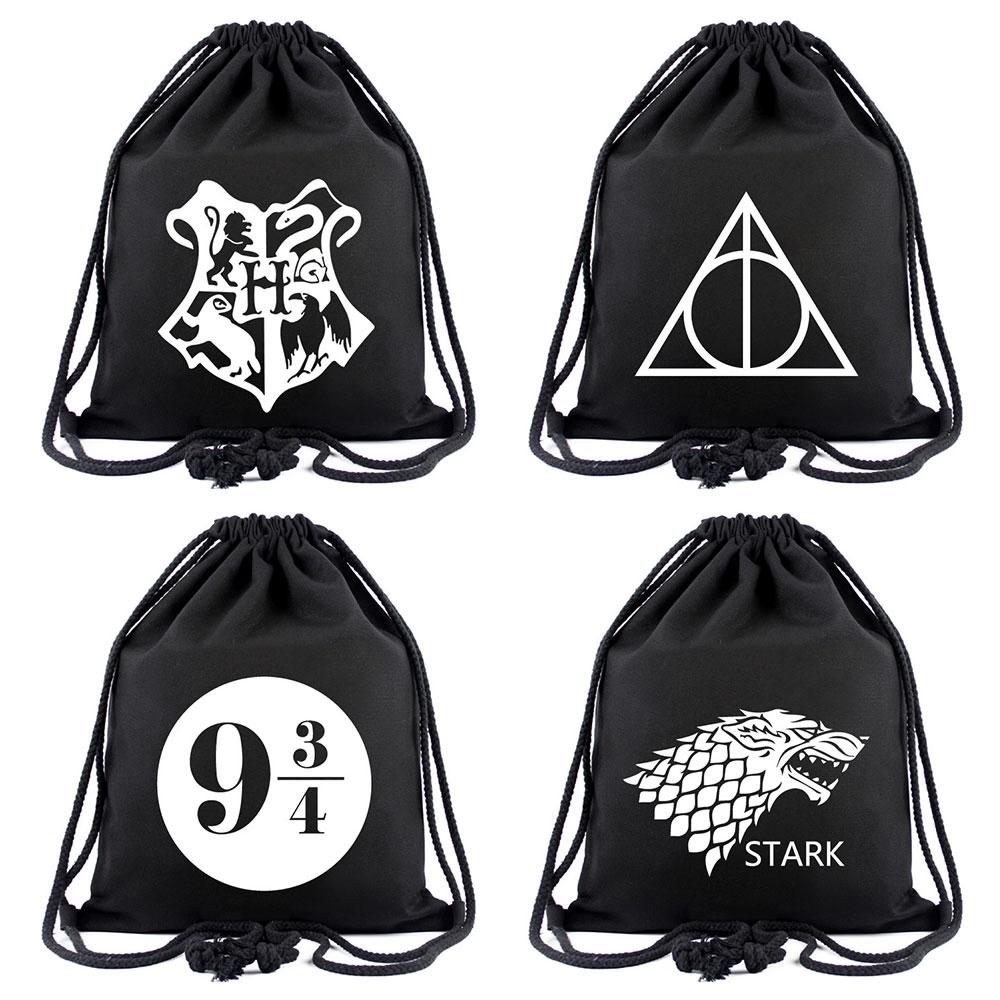 Harry Potter Deathly Hallows Logo Canvas Backpack Rucksack Schulranzen