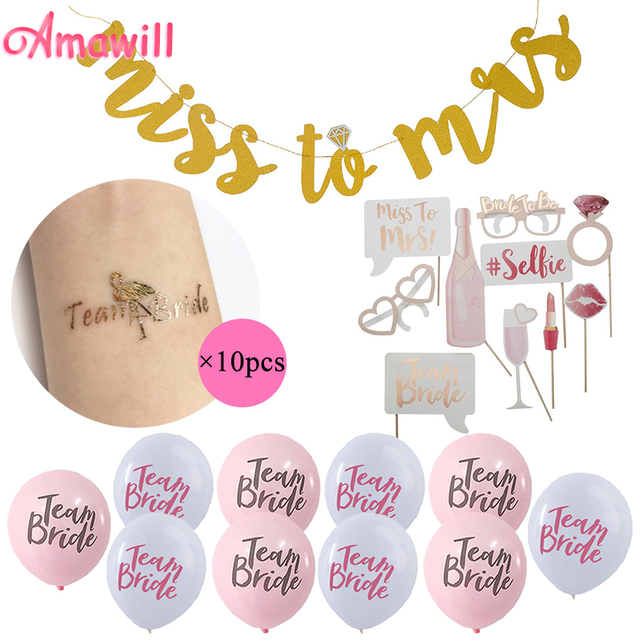 Relatively Amawill Miss To Mrs Banner Team Bride Gold Tattoo Pink White  KL12