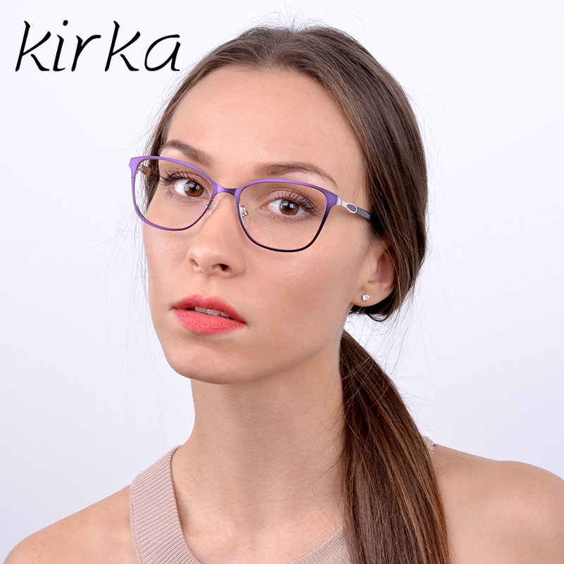 Kirka Retro Optical Clear Lens Metaal Dames Brillen Frame - Kledingaccessoires