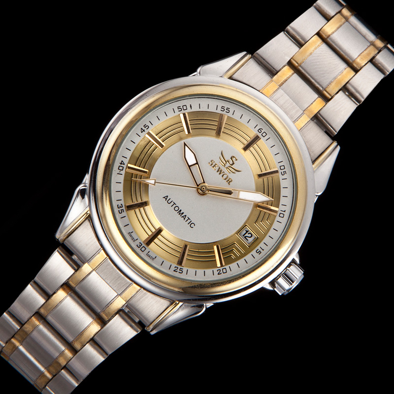 SEWOR Vintage Design Men's Automatic Mechanical Wrist Watch Mens Golden & Silver Date Analog Watches