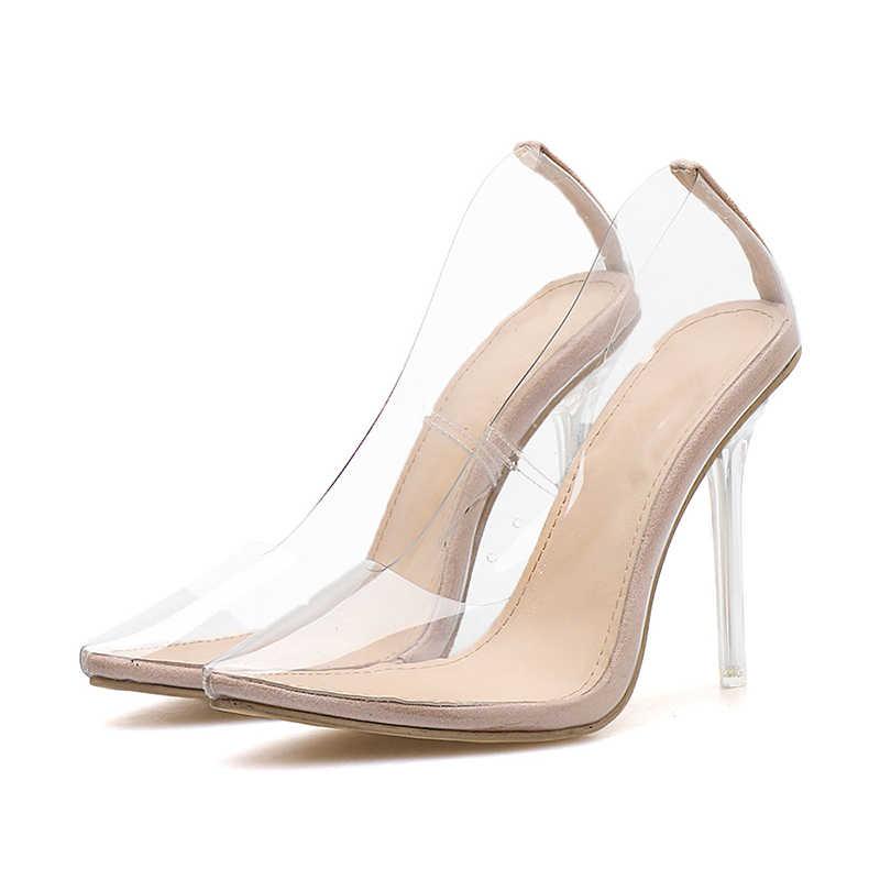 Mais Mulheres do Tamanho Bombas de Moda Apontou Toe Claro Transparents PVC Sandálias De Salto Alto Sexy Saltos Finos Bombas de Vestido de Festa de Cristal