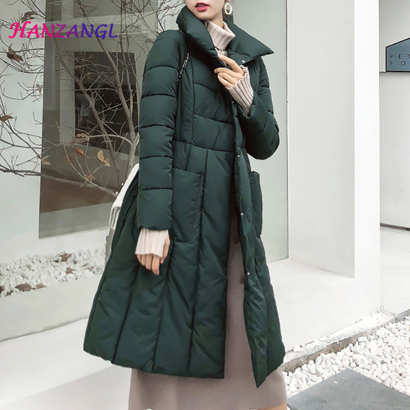 HANZANGL Winter   Down     Coat   2018 new women   Coats   cotton-padded jacket over the knee thick warm lacing waist Parka Overcoat