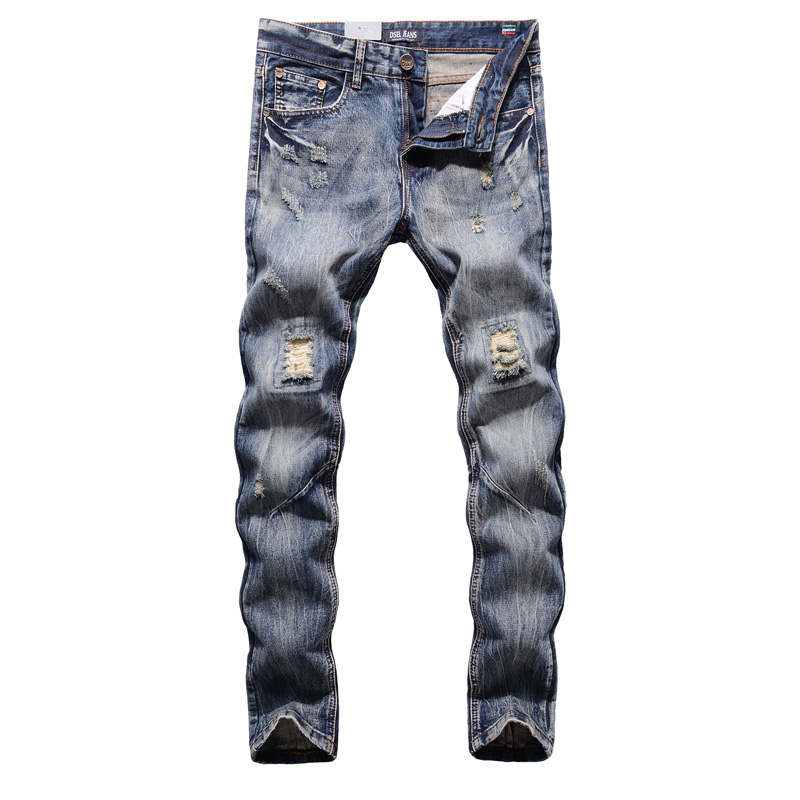 Italian Retro Design Men Jeans Knee Frayed Hole Destroyed Ripped Jeans Men Fashion Street Biker Jeans