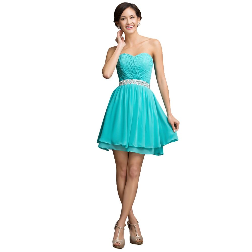 Vestido corto de color turquesa
