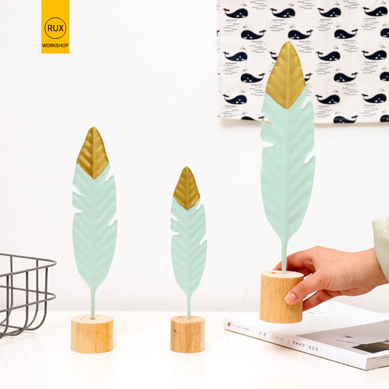 RUX WORKSHOP Nordic style Modern Feather Wooden Decorations Office Home Decoration Accessories Simple Miniature Figurines