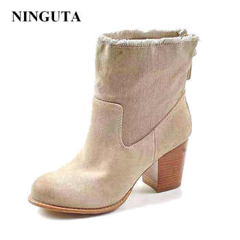 NIGUTA fashion ankle boots women autumn spring shoes woman denim and cow suede big size - DISCOUNT ITEM  20% OFF Shoes