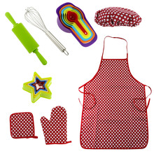 Onme Kids Role Play Kitchen Toy Children Cooking Utensils Kitchen Supplies Set For Toddler Children Pretend Play Apron Chef Hat