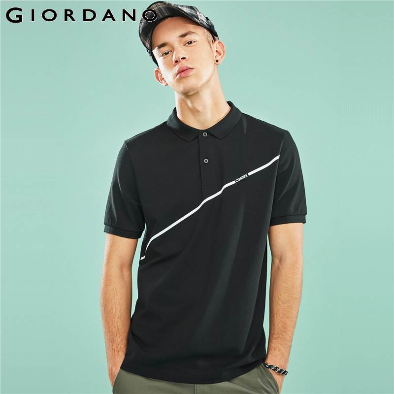 Giordano Men Polo Shirt Men Printed Letters Short Sleeve Pique Fabric Slim Polo Men Shirt Summer Stretchy Spandex Cotton Homme