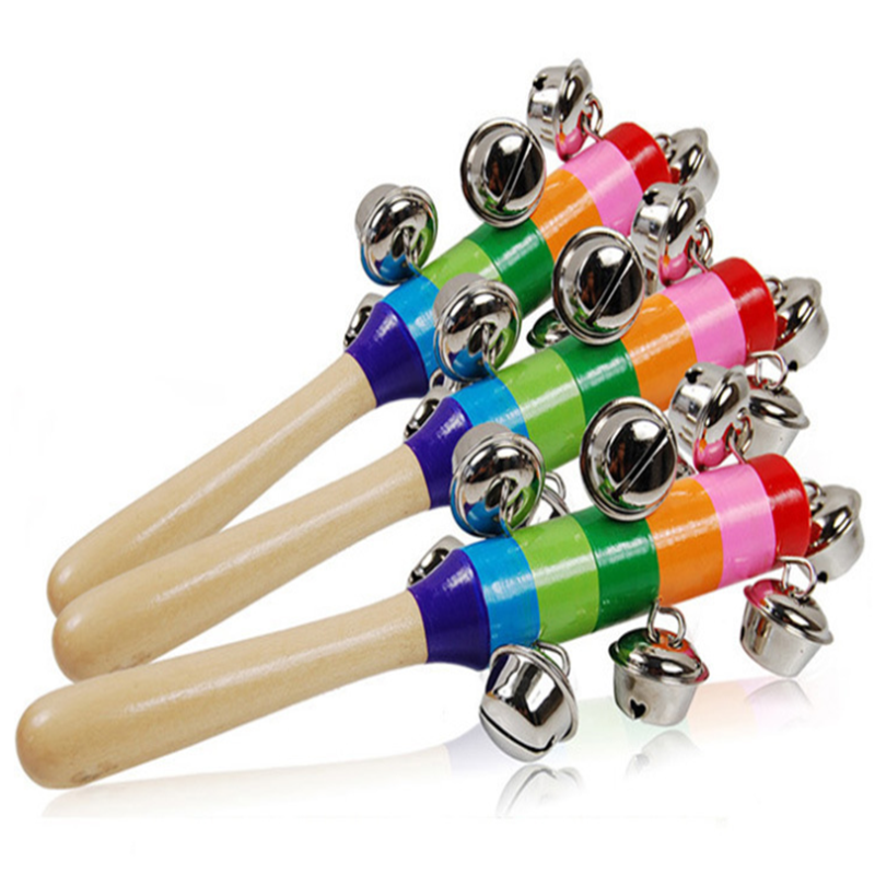 Colorful Newborn Rattles Wooden Baby Handbell Colorful Bell Kindergarten Toy Children Educational Toy
