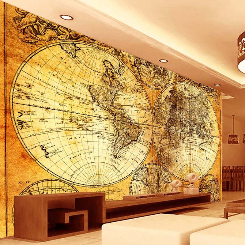 Aliexpress Com Buy Unframed 3 Panel Vintage World Map: Popular World Map Wallpaper-Buy Cheap World Map Wallpaper