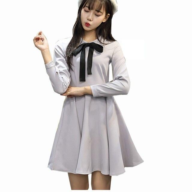 Women Preppy Style Student Dress Plus Size Korean Cute A Line Mini