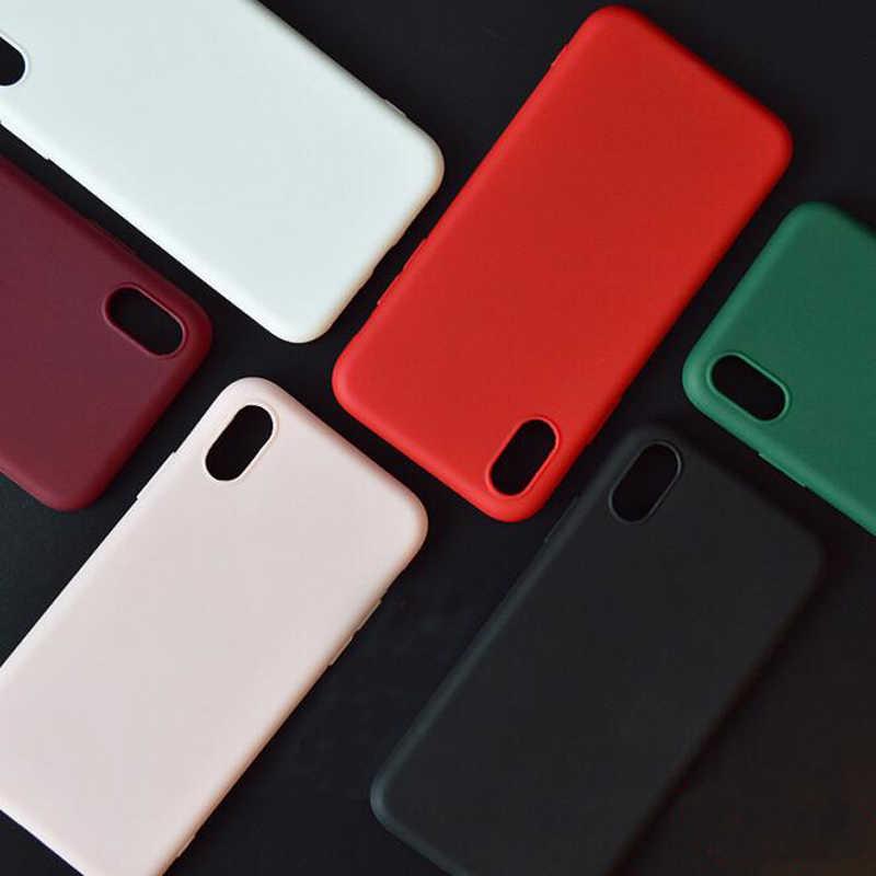 2018 Baru Fashion Permen Warna Anggur Lembut Silicone Ponsel Cover Fundas Coque untuk iPhone 6 S 7 7 Plus 6 S 6 Plus 8 8 Plus X