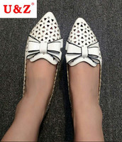 2016 Lovely Big Bow Casual Shoes Beige White Silver Leather Breathable Women Flats Triangle Hollow Out