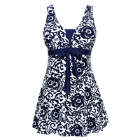 Women S Halter Shaping Body One Piece Swimsuit Plus Size Swimwear Navy Blue 5XL