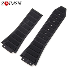 ZLIMSN Watch Band Strap Men Sport Black Diving Silicone Rubber Without Buckle Watchbands Relojes Hombre 2016 30mm x 20mm