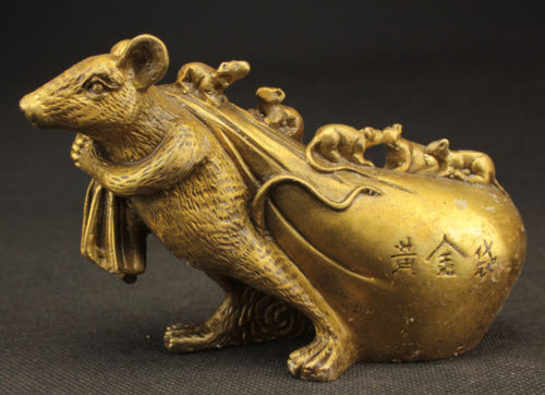 Arts Crafts Copper Exquisite Chinese Brass Statue   Big Mouse Draging Big Gold Bag and Small Mice|bag bag|bag gold|bag big - title=