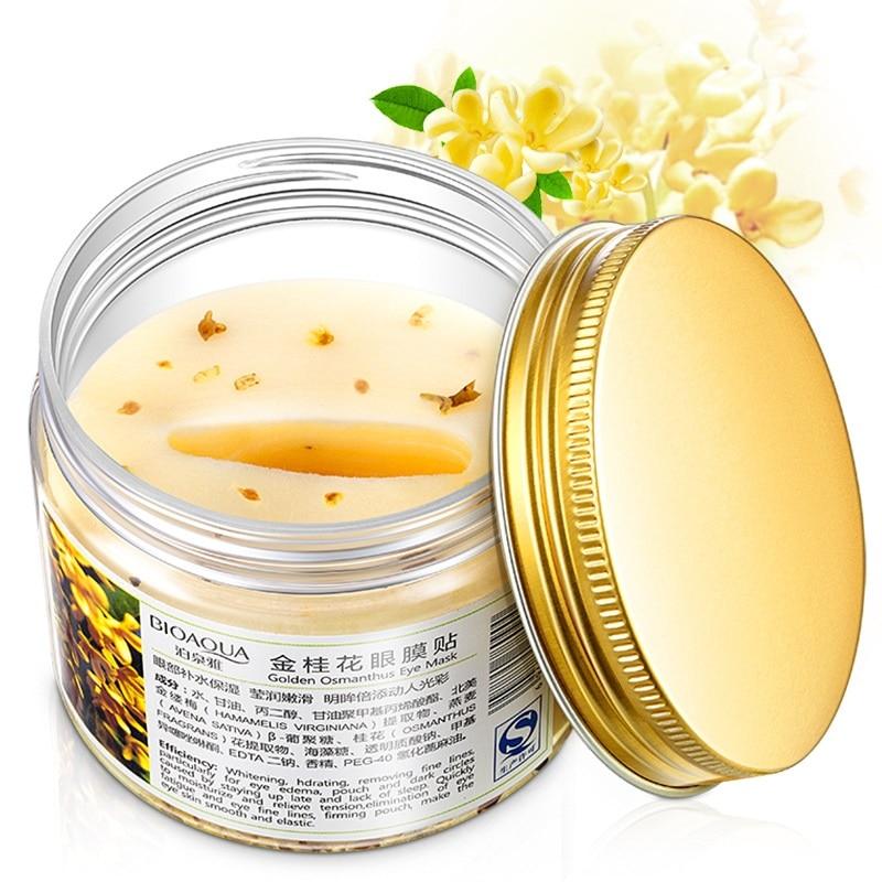 Gold Osmanthus eye mask women Collagen gel whey protein face care sleep patches health mascaras de dormir
