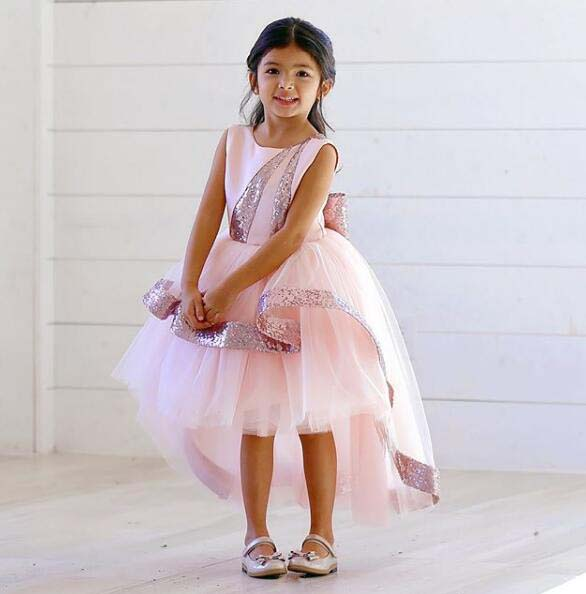 Sparkly High low Bling blush pink sequins flower girl dresses toddler pageant  gown baby first birthday party outfit with bow - aliexpress.com - imall.com 117a0bc5cb45