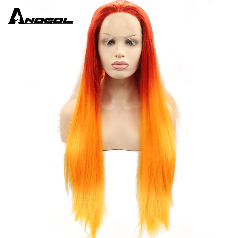 Anogol High Temperature Fiber Perruque U Part Red Ombre Orange Wigs Long Straight Synthetic Lace Front Wig For Women Costume