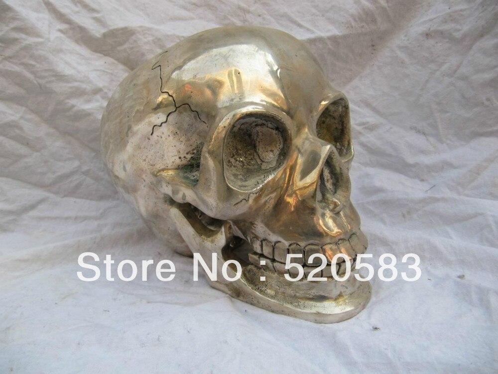 9 ''pur bronze argent placage tibet Bouddhiste de crânes tête statue