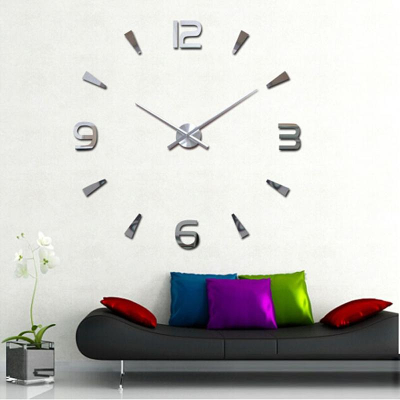Extra Large Mirror Wall Clock Fashion Lovely 3D DIY Large ...