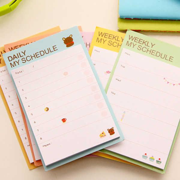 Южная Корея канцелярские планировочные блокноты Наклейки Заметки квадратная маленькая неделя Ежемесячный план функция книга