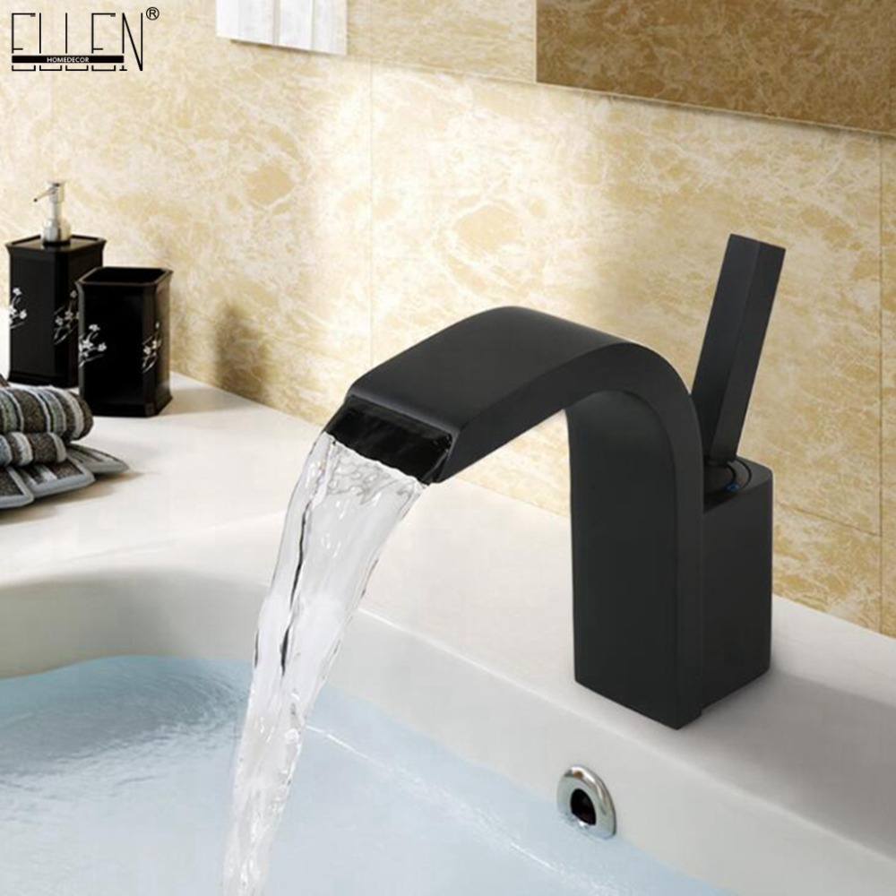 Deck Mounted Hot Cold Black Water Mixer Tap Bathroom Sink Faucet Black Faucets White Chrome Finished ELK1118BDeck Mounted Hot Cold Black Water Mixer Tap Bathroom Sink Faucet Black Faucets White Chrome Finished ELK1118B